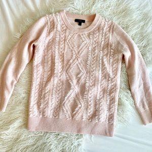 J. Crew Blush Pink Cable Fringe Sweater